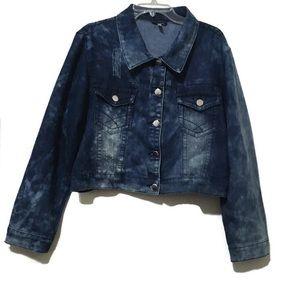 Distressed Plus Size Denim Blue Jean Jacket Sz 2X